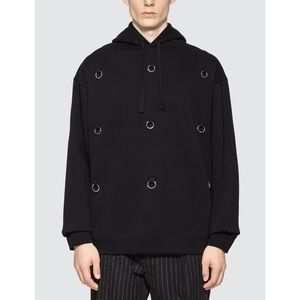 Raf Simons Rings Hoodie Black Luxury Ribbed L